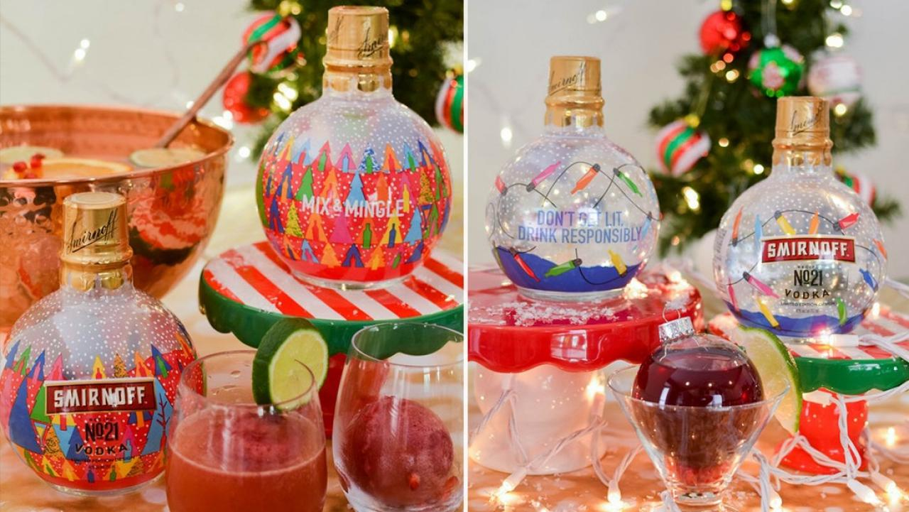 Smirnoff has created fancy festive Christmas baubles filled
