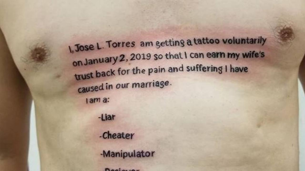 Cheating Man Has Huge Tattoo Fail While Trying To Win Back Wife